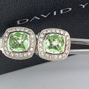 David Yurman 925 7mm Prasolite Diamonds Earrings